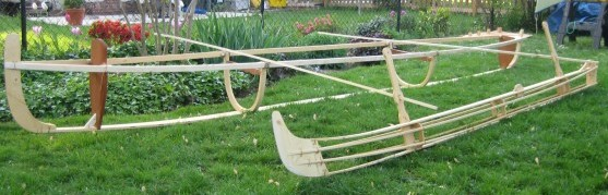 Skin-on-frame outrigger canoe mock setup
