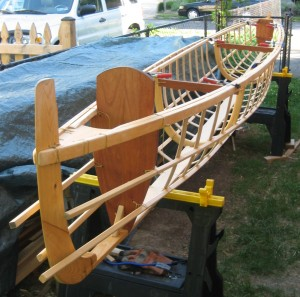 Skin-on-frame outrigger canoe frame