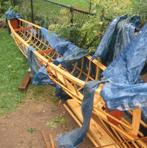 Skin-on-frame outrigger canoe,after the storm