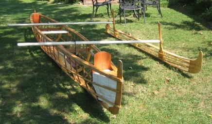 Skin-on-frame outrigger canoe put together