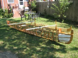 Skin-on-frame outrigger canoe - put together