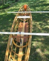 Skin-on-frame outrigger canoe - floorboards