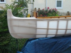 Bow of skin-on-frame outrigger, with skin on