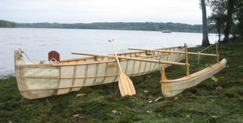 Completed skin-on-frame outrigger canoe AL DEMANY CHIMAN