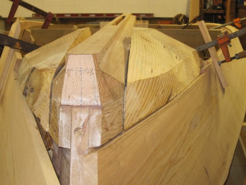 transom and aft end of chine log