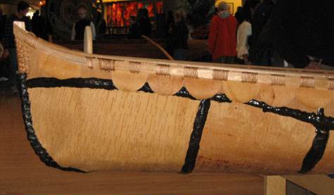 Ojibwe birch bark canoe - bow