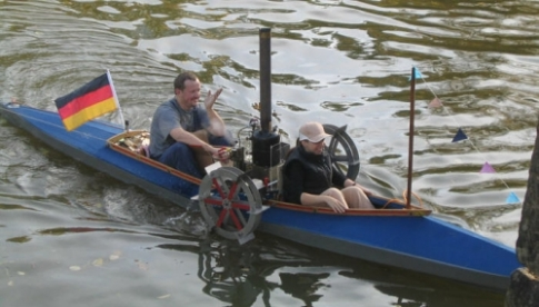 German steam-engine-driven folding kayak