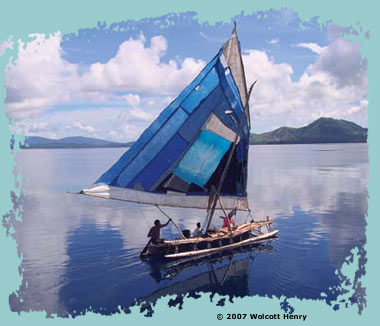 Sailing canoe from Papua New Guinea